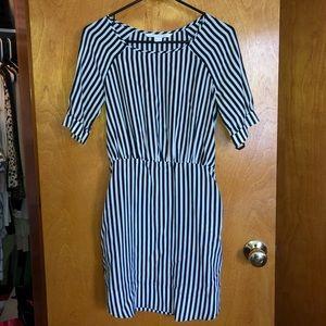 DVF Blue & White Striped Casual Dress